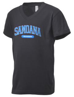 samoana high sharks Kid's V-Neck Jersey T-Shirt