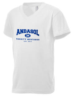 Andasol Elementary School Mustangs Kid's V-Neck Jersey T-Shirt