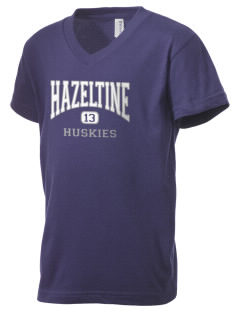 Hazeltine Elementary School Huskies Kid's V-Neck Jersey T-Shirt