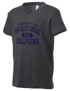 Napa Valley Language Center Dolphins Kid's V-Neck Jersey T-Shirt