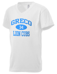Greco Middle School Lion Cubs Kid's V-Neck Jersey T-Shirt