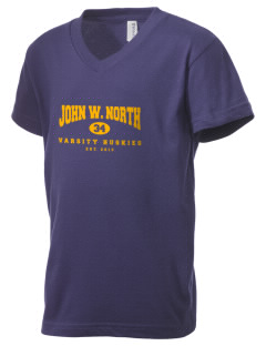 John W. North High School Huskies Kid's V-Neck Jersey T-Shirt