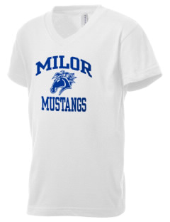 Milor Continuation Senior High School Mustangs Kid's V-Neck Jersey T-Shirt