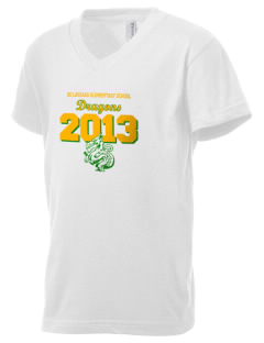 De Laveaga Elementary School Dragons Kid's V-Neck Jersey T-Shirt