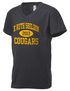 E Ruth Sheldon Elementary School Cougars Kid's V-Neck Jersey T-Shirt