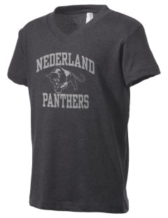 Nederland Elementary School Panthers Kid's V-Neck Jersey T-Shirt