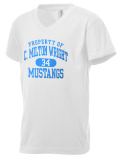 C Milton Wright High School Mustangs Kid's V-Neck Jersey T-Shirt