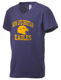 New Life Christian Academy Eagles Kid's V-Neck Jersey T-Shirt