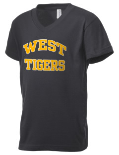 West Elementary School Tigers Kid's V-Neck Jersey T-Shirt