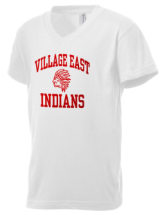 Village East School Indians Kid's V-Neck Jersey T-Shirt