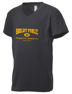 Shelby Public School Huskies Kid's V-Neck Jersey T-Shirt