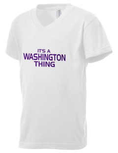 Washington School Warriors Kid's V-Neck Jersey T-Shirt