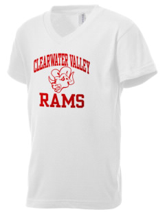 Clearwater Valley Elementary School Rams Kid's V-Neck Jersey T-Shirt