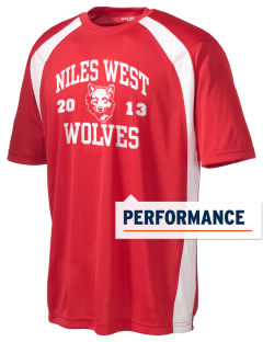 Niles West High School Wolves Men's Dry Zone Colorblock T-Shirt