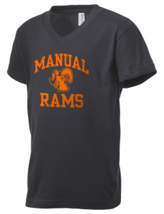 Manual High School Rams Kid's V-Neck Jersey T-Shirt