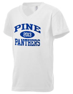 Pine Elementary School Panthers Kid's V-Neck Jersey T-Shirt