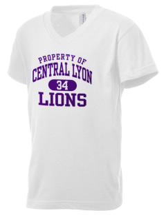 Central Lyon Elementary School Lions Kid's V-Neck Jersey T-Shirt