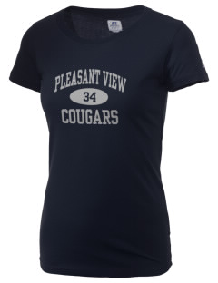 Pleasant View Elementary School Cougars  Russell Women's Campus T-Shirt