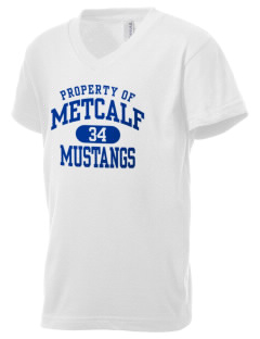 Metcalf Elementary School Mustangs Kid's V-Neck Jersey T-Shirt