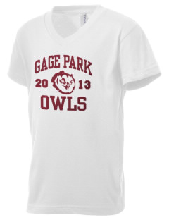 Gage Park High School Owls Kid's V-Neck Jersey T-Shirt