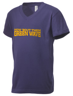 Narrows High School Green Wave Kid's V-Neck Jersey T-Shirt