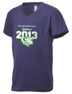 Grass Lake Elementary School Gators Kid's V-Neck Jersey T-Shirt