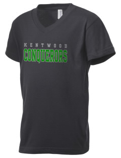 Kentwood High School Conquerors Kid's V-Neck Jersey T-Shirt