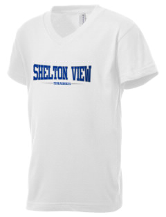 Shelton View Elementary School Sharks Kid's V-Neck Jersey T-Shirt