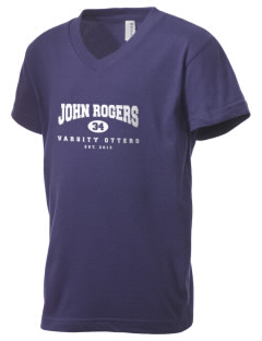 John Rogers Elementary School Otters Kid's V-Neck Jersey T-Shirt