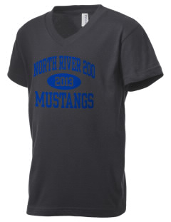 North River School 200 Mustangs Kid's V-Neck Jersey T-Shirt