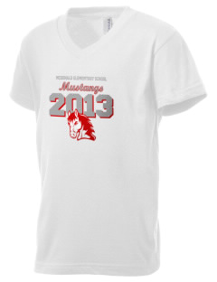 McDonald Elementary School Mustangs Kid's V-Neck Jersey T-Shirt