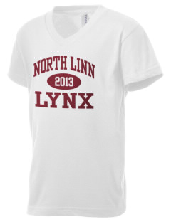 North Linn Elementary School Lynx Kid's V-Neck Jersey T-Shirt