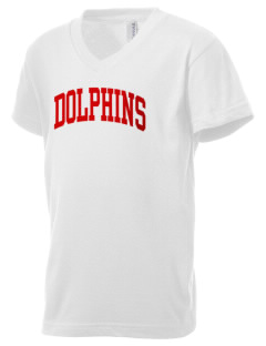 Alvin Community College Dolphins Kid's V-Neck Jersey T-Shirt