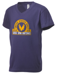 USS San Antonio Kid's V-Neck Jersey T-Shirt