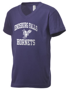 Enosburg Falls Middle High School Hornets Kid's V-Neck Jersey T-Shirt