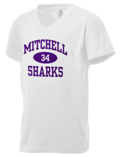 Mitchell Elementary School Sharks Kid's V-Neck Jersey T-Shirt