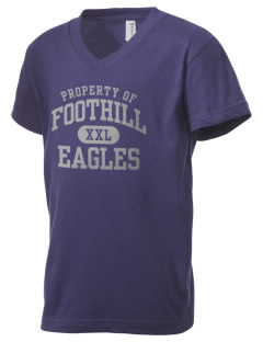 Foothill Middle School Eagles Kid's V-Neck Jersey T-Shirt