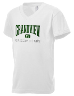 Grandview Elementary School Grizzly Bears Kid's V-Neck Jersey T-Shirt
