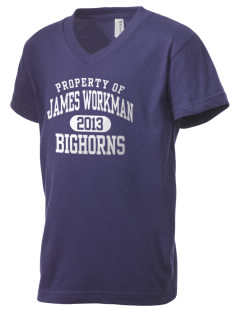 James Workman Middle School Bighorns Kid's V-Neck Jersey T-Shirt