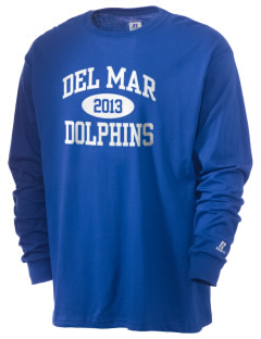 Del Mar Elementary School Dolphins  Russell Men's Long Sleeve T-Shirt