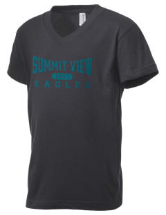Summit View School Eagles Kid's V-Neck Jersey T-Shirt
