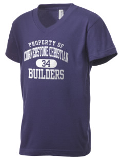 Cornerstone Christian School Builders Kid's V-Neck Jersey T-Shirt
