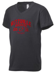 Ritzville High School Broncos Kid's V-Neck Jersey T-Shirt