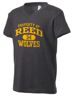 Reed Middle School Wolves Kid's V-Neck Jersey T-Shirt