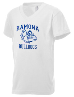 Ramona High School Bulldogs Kid's V-Neck Jersey T-Shirt