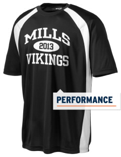 Mills High School Vikings Men's Dry Zone Colorblock T-Shirt