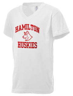 Hamilton Elementary School Huskies Kid's V-Neck Jersey T-Shirt