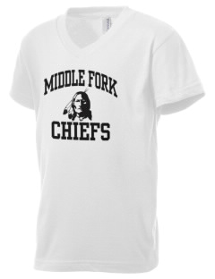 Middle Fork Elementary School Chiefs Kid's V-Neck Jersey T-Shirt