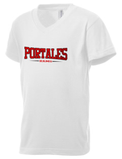 Portales Junior High School Rams Kid's V-Neck Jersey T-Shirt
