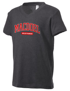 MacDoel Elementary School Mustangs Kid's V-Neck Jersey T-Shirt